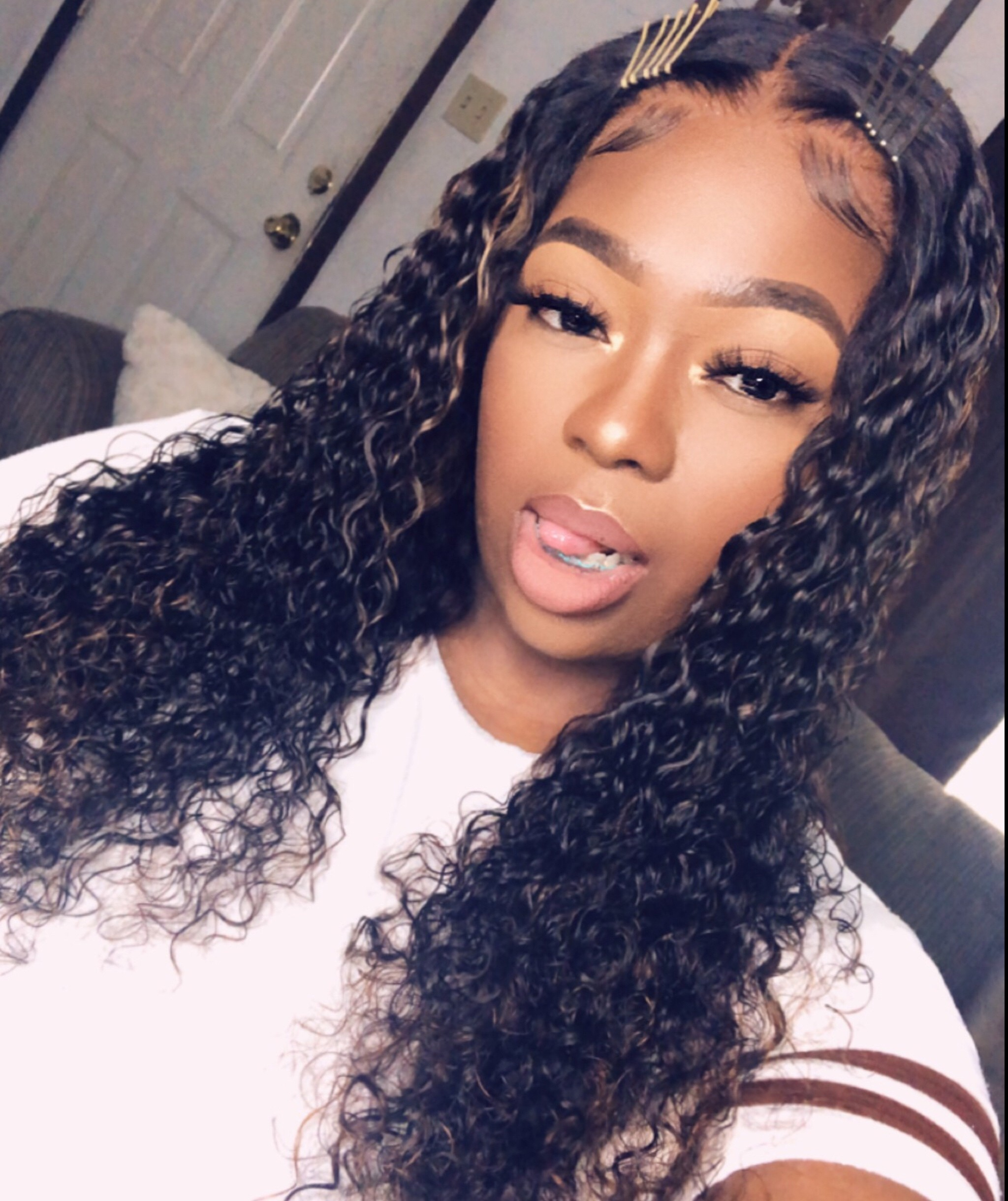 Kena Recommend Beautiful Ombre Highlight Color Brazilian Virgin Hair Kinky Curly Lace Front Wig