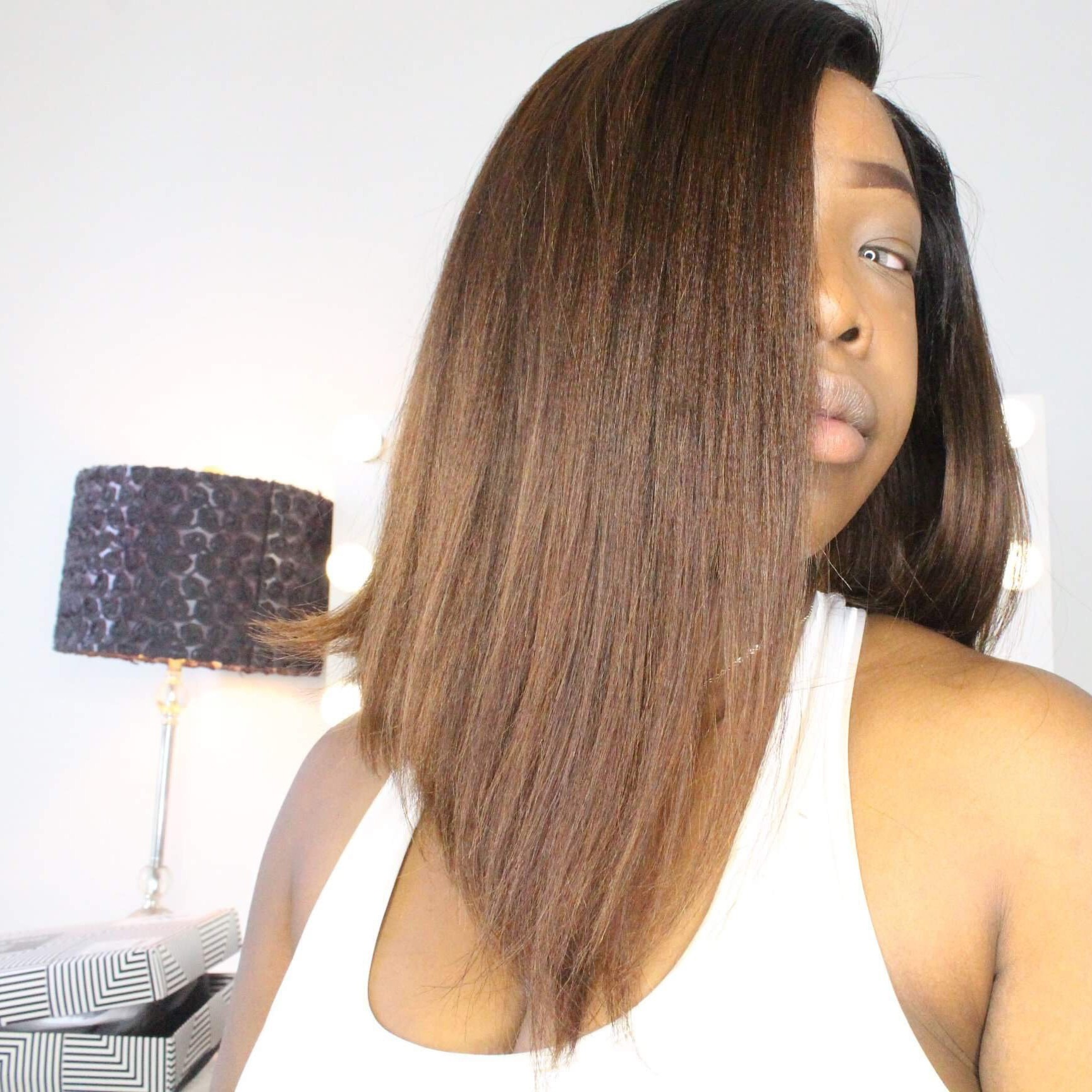 Celebrity Recommend 12inch Ombre Color 150% density Yaki Straight Bob Wig Virgin Human Hair Lace Front Wig