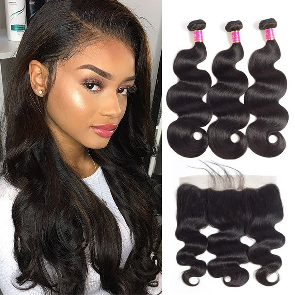 Chantiche Brazilian Virgin Body Wave Hair Extensions 3 Bundles With 13*6 Lace Frontal