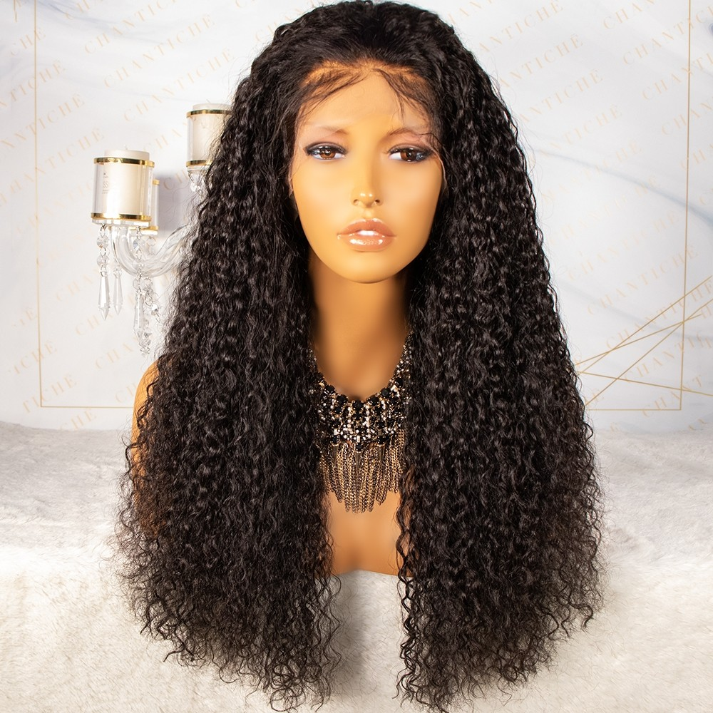 Jerry Curly Brazilian Virgin Human Hair Silk Top Lace Front Wig