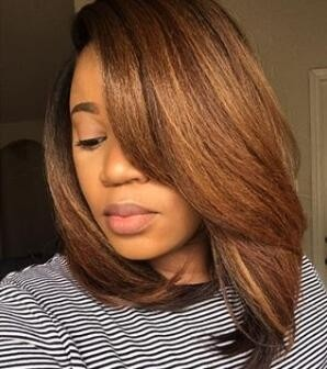 Qui Recommend Yaki Straight 12inch 150% density Ombre Bob Wig Virgin Human Hair Lace Front Wig