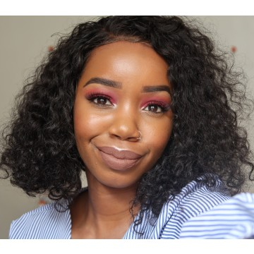 Joanna Recommend Best Sell Curly Short Bob Wig Lace Front Wig 6 Inch Deep Parting 150% Density